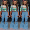 Plus Size Denim Ripped Holes Flares Bodycon Jeans CQ-5268