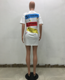 Letter Short Sleeve T Shirt Dress TR-791