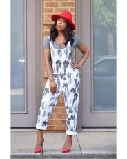 Casual Printed Straps One Piece Jumpsuits HM-6142