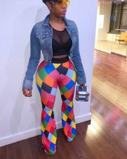 Plus Size Colorful Plaid Print Long Pants WSM-5046