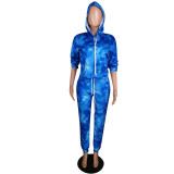 Casual Printed Hooded Tracksuit Two Piece Set MYP-8884