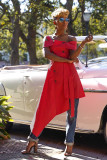 Red Double-breasted Off Shoulder Irregular Midi Dresses OY-5347