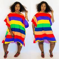 Rainbow Stripe Flare Sleeve Irregular Loose Midi Dress ARM-8073