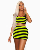 Striped Tank Top And Mini Skirt Two Piece Set YD-8098