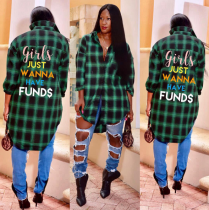 Letter Print High Low Hem Irregular Plaid Blouse FNN-8165