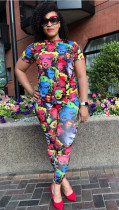 Casual Printed Short Sleeve Long Pants Two Piece Suits FSL-016