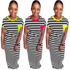Fashion Stripes Short Sleeve Long Maxi Dresses TE-3817