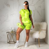 Casual Pritned T Shirt And Shorts Two Piece Outfit YMT-6086-1