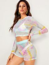 Tie Dye Print Grid See Through 2 Piece Shorts Set FNN-8270