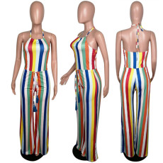 Colorful Striped Halter Backless One Piece Jumpsuits MUM-5001