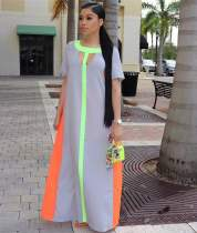 Casual Pacthwork Short Sleeve Maxi Dresses OM-1057