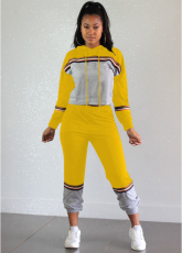 Yellow Patchwork Hooded Tracksuit 2 Piece Set OY-5277