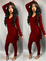 Wine Red Knitted Long Tops And Skinny Pants Set LS-0229