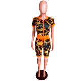 Chain Print Short Sleeve Two Piece Shorts Set YMT-6091