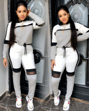 Casual Patchwork Tracksuit Hooded Two Piece Sets YIS-728