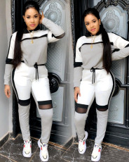 Casual Mesh Patchwork Tracksuit Hooded Two Piece Sets YIS-728