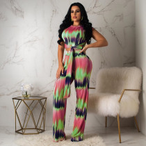 Gradient Printed Tie Up Two Piece Pants Set YIS-720