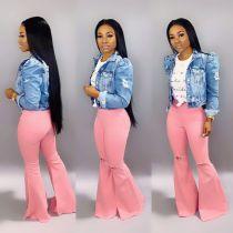 Denim High Waist Flare Pants Holes Jeans LA-3109