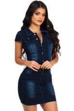 Denim Sleeveless Mini Bodycon Dress LX-6859