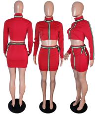 Striped Patchwork Turtleneck Mini Skirt 2 Piece Set WSM-5030