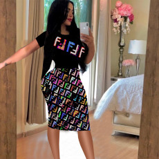 Short Sleeve Patchwork Print Midi Dress TE-3665