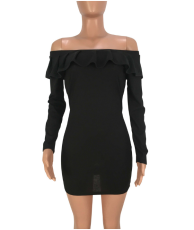 Black Ruffles Off Shoulder Mini Bodycon Dress FNN-8170