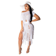 Sexy Holes Tassel Kintted Two Piece Skirt Set ME-278