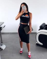 Black Tank Tops And Midi Skirt Set MTY-6135