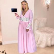 Pink Deep V Neck Long Sleeve Maxi Dresses MEM-8203