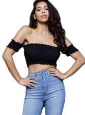 Black Ribbed Knit Crop Top WY-6313
