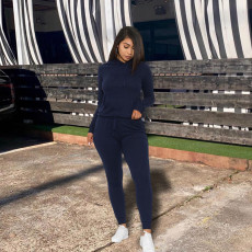 Solid Hooded Tracksuit Long Sleeve Two Piece Sets YH-5091