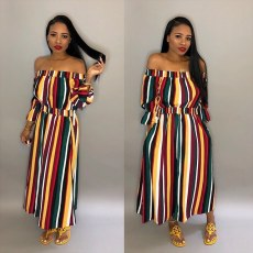 Fashion Striped Slash Neck Elastic Waist Long Dress WSM-5012