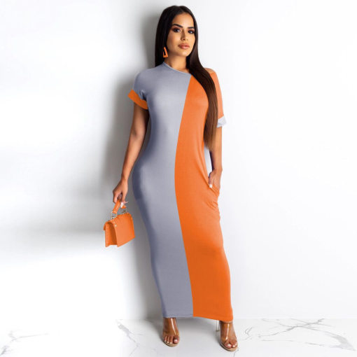 Plus Size Contrast Color Short Sleeve Long Maxi Dresses YN-032