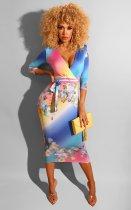 Floral Print Sexy Deep V Half Sleeve Midi Dresses MK-2034