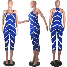 Sexy Stripe Print Sleeveless Calf Length Jumpsuits MUM-5014