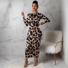 Leopard Print Long Sleeve O Neck Maxi Dresses MA-241