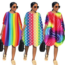 Rainbow Striped Long Sleeve Loose Knee Length Dresses BLX-7329