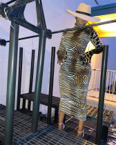 Sexy Zebra Stripes Leopard Turtleneck Slim Long Dress NIK-048