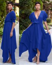 Blue Sexy V Neck Big Swing Irregular Hem Maxi Dress TK-6023