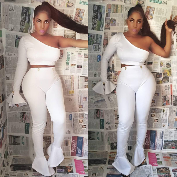 White One Shoulder Flare Sleeve Two Piece Sets BN-9196