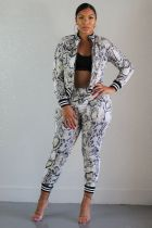Snake Skin Print Zipper Jacket Pants 2 Pieces Suit BS-1118