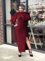 Autumn Long Sleeve Solid Split Long Maxi Dresses LS-0283