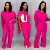 Solid Knitted Tie Up Top Wide Leg Pants 2 Piece Suits LDS-3177