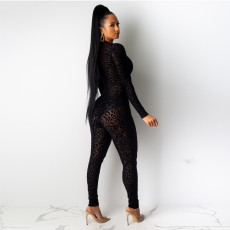 Sexy Mesh See Through Leopard Bodycon Jumpsuits YS-8387