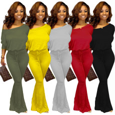 Solid Color Batwing Sleeve One Piece Jumpsuits YS-8388