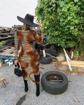 Sexy Zebra Stripes Long Sleeve Hole Hollow Club Dress YM-9160