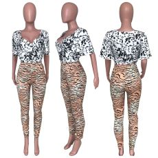 Sexy Printed V Neck Tops Pencil Pants 2 Piece Sets CH-8065