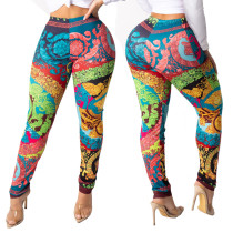 Casual Printed Skinny Long Pencil Pants YS-8390