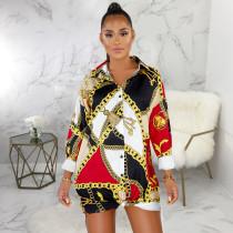 Plus Size Chain Print Turndown Collar Long Sleeve Shirt Dress SMR-9374