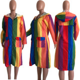 Rainbow Color Hooded Zipper Fulls Sleeve Long Coat OJS-9147